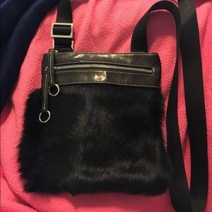 Aqua Madonna Black Fur Crossbody